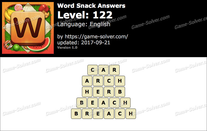 Word Snack Level 122 Answers