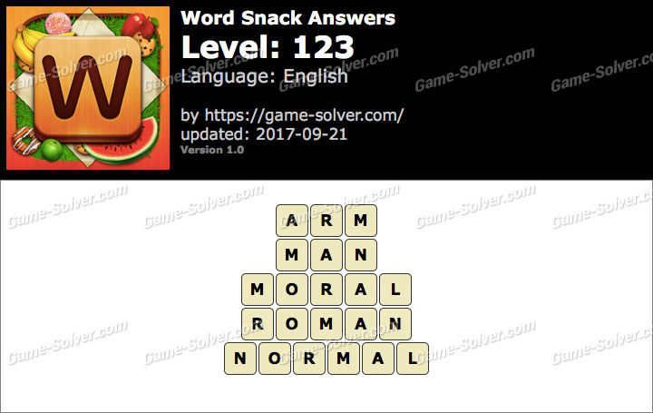 Word Snack Level 123 Answers