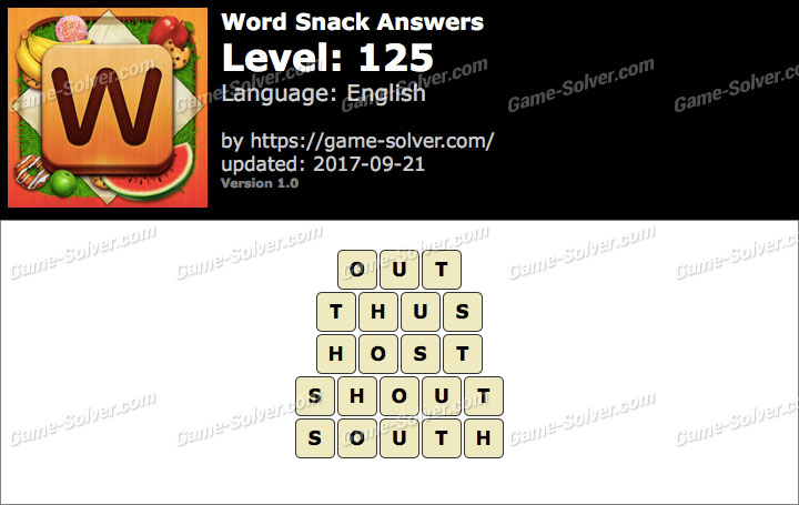 Word Snack Level 125 Answers
