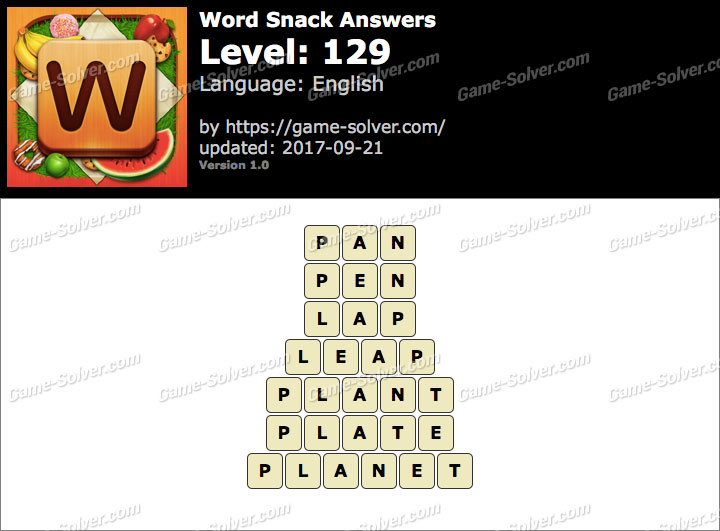Word Snack Level 129 Answers