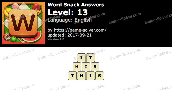 Word Snack Level 13 Answers