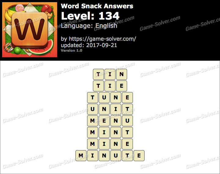 Word Snack Level 134 Answers
