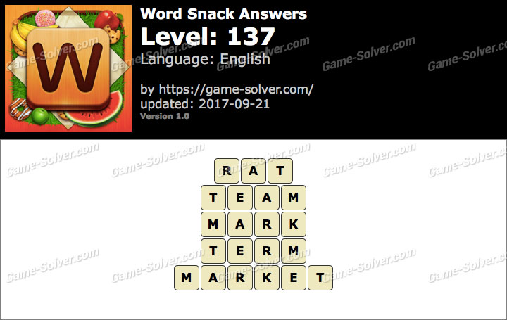Word Snack Level 137 Answers