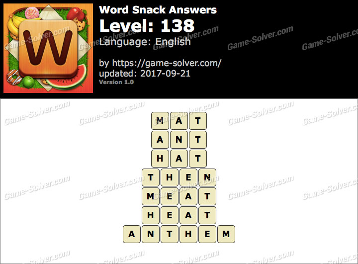 Word Snack Level 138 Answers