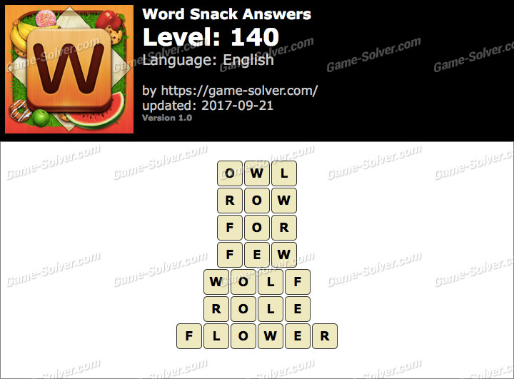 Word Snack Level 140 Answers