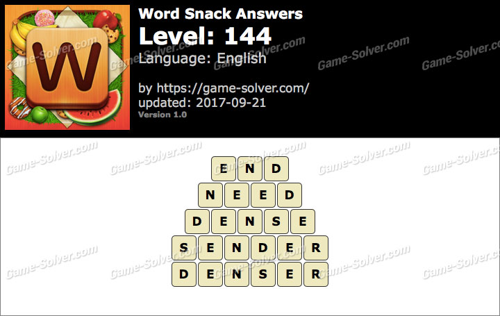 Word Snack Level 144 Answers