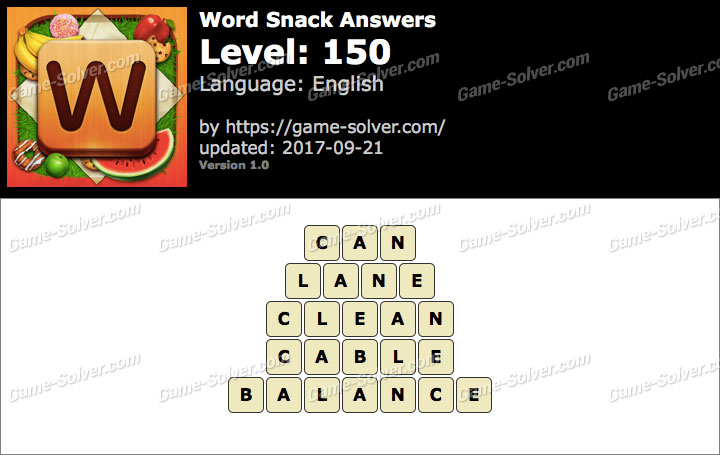 Word Snack Level 150 Answers