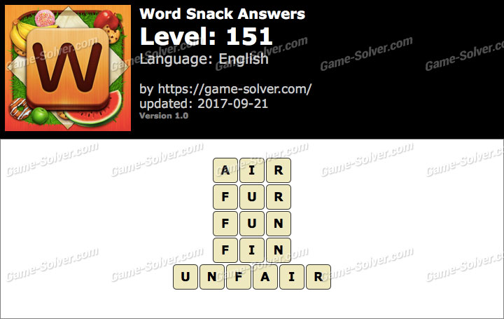 Word Snack Level 151 Answers