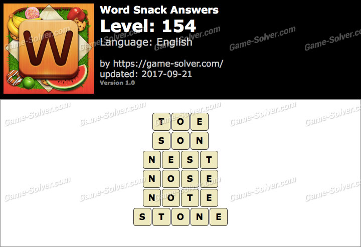 Word Snack Level 154 Answers