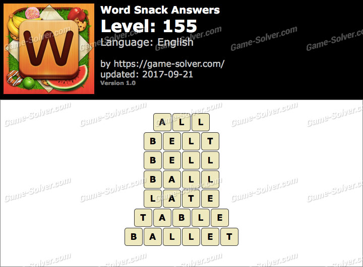 Word Snack Level 155 Answers
