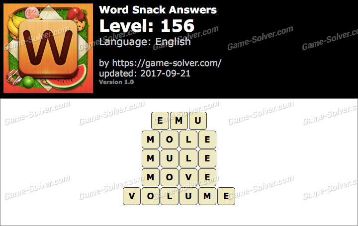Word Snack Level 156 Answers