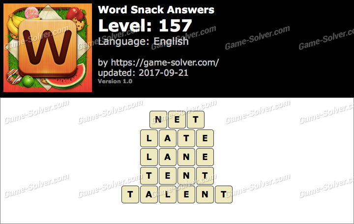Word Snack Level 157 Answers
