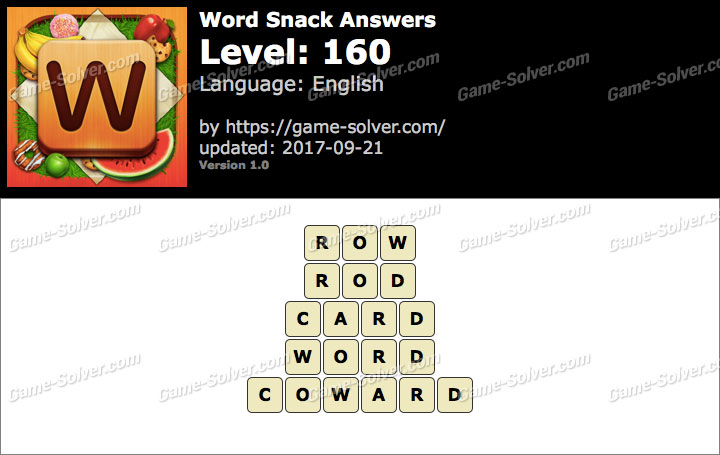 Word Snack Level 160 Answers