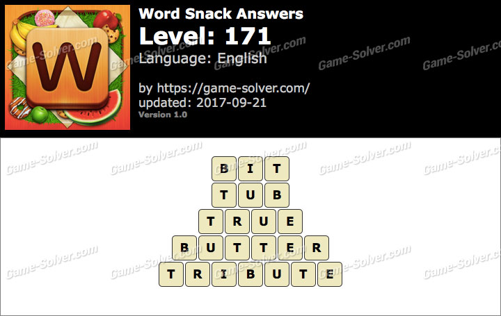 Word Snack Level 171 Answers