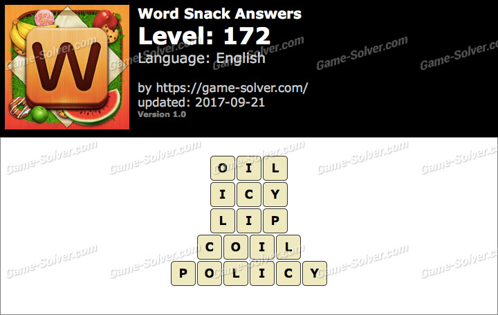 Word Snack Level 172 Answers