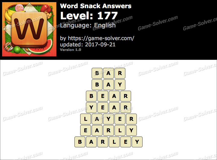 Word Snack Level 177 Answers