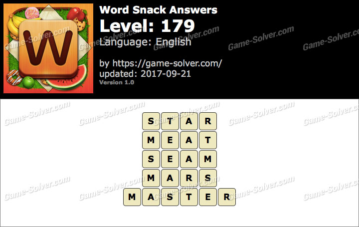 Word Snack Level 179 Answers
