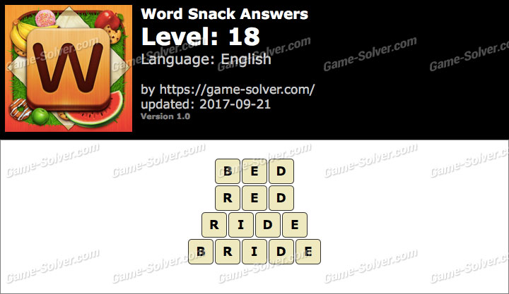 Word Snack Level 18 Answers