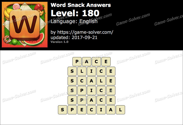 Word Snack Level 180 Answers
