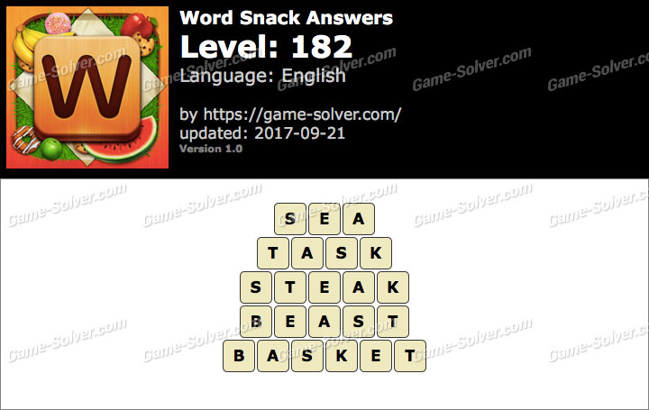 Word Snack Level 182 Answers