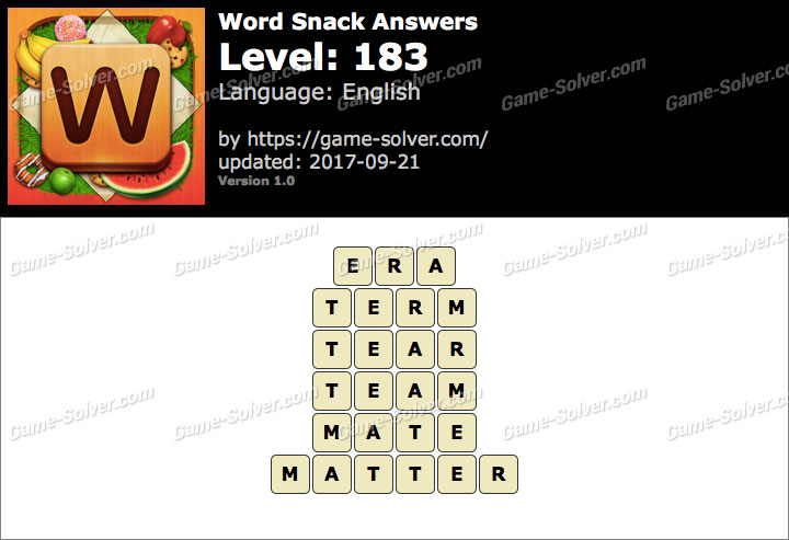 Word Snack Level 183 Answers