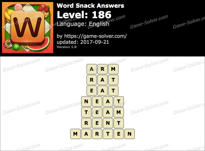 Word Snack Level 186 Answers