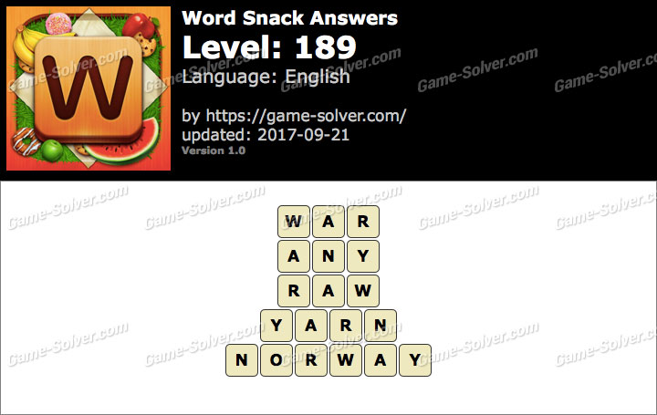 Word Snack Level 189 Answers