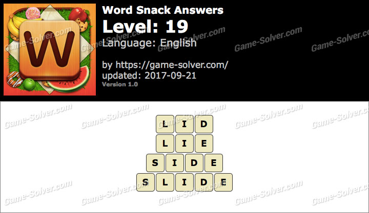 Word Snack Level 19 Answers