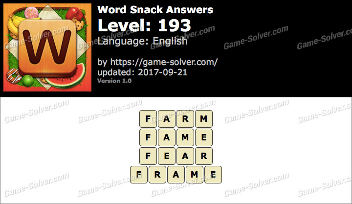 Word Snack Level 193 Answers