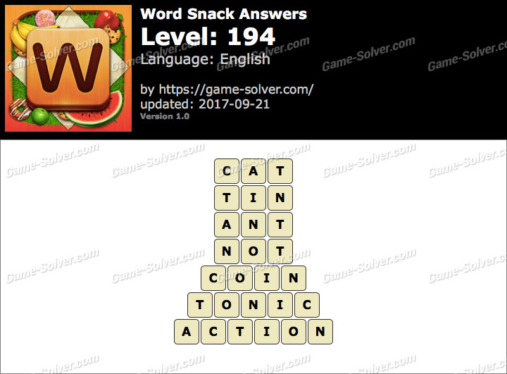 Word Snack Level 194 Answers