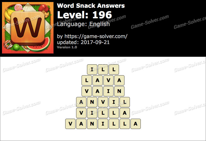 Word Snack Level 196 Answers