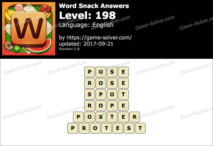 Word Snack Level 198 Answers