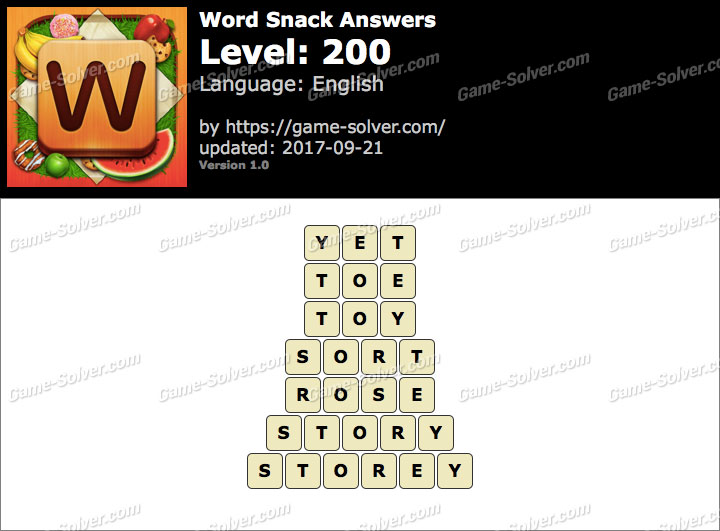Word Snack Level 200 Answers
