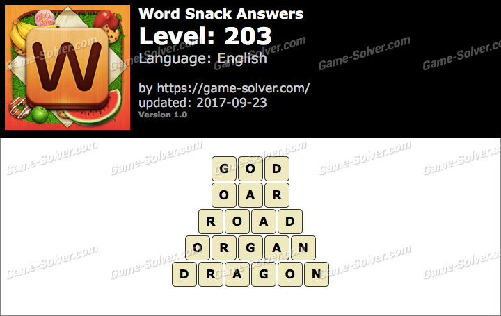 Word Snack Level 203 Answers