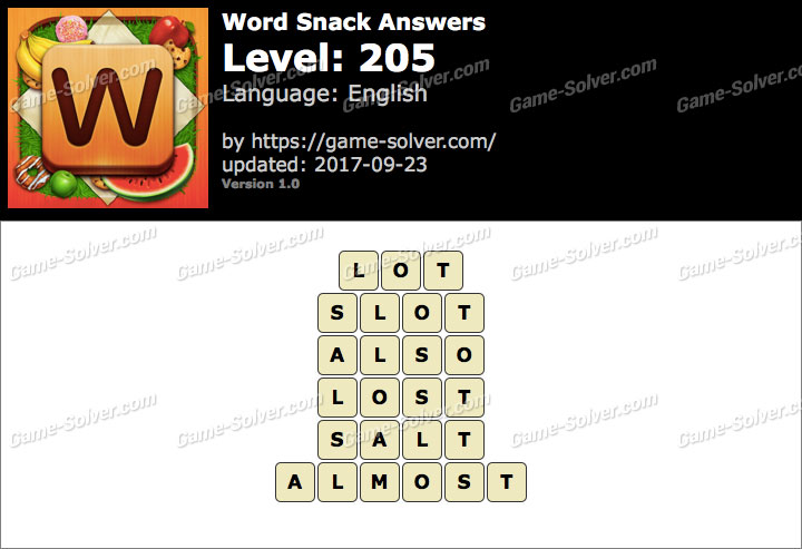 Word Snack Level 205 Answers