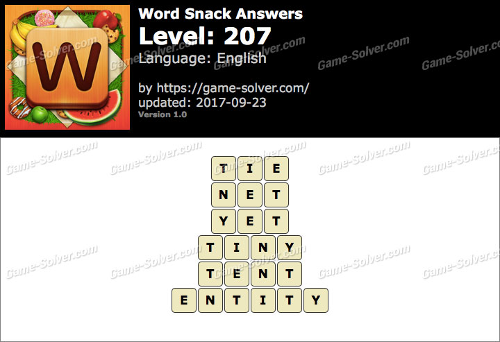 Word Snack Level 207 Answers