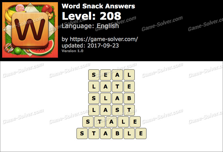 Word Snack Level 208 Answers