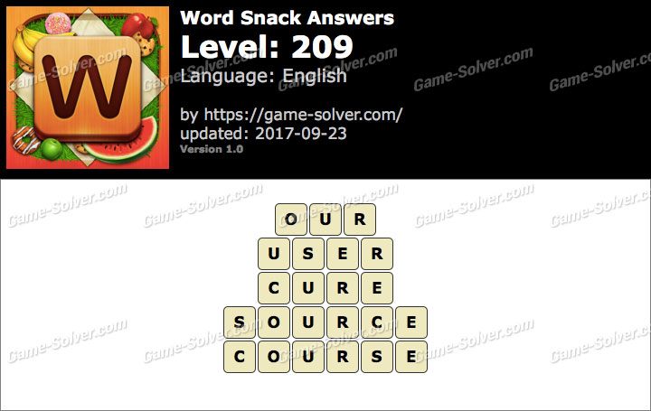 Word Snack Level 209 Answers