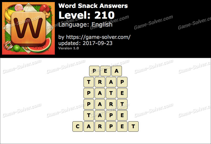 Word Snack Level 210 Answers