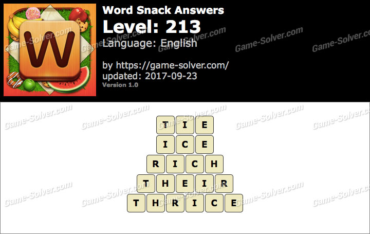 Word Snack Level 213 Answers