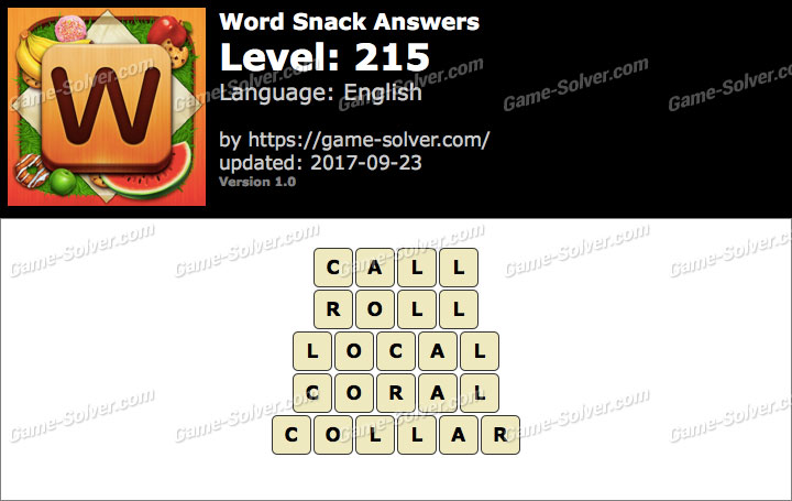 Word Snack Level 215 Answers
