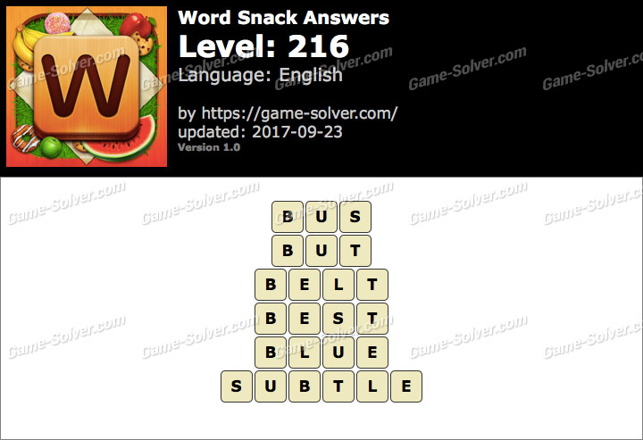 Word Snack Level 216 Answers