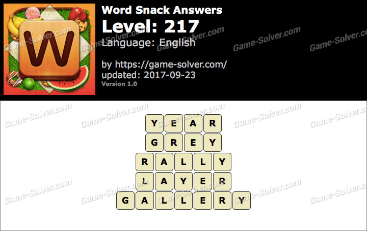 Word Snack Level 217 Answers