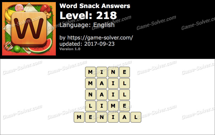 Word Snack Level 218 Answers