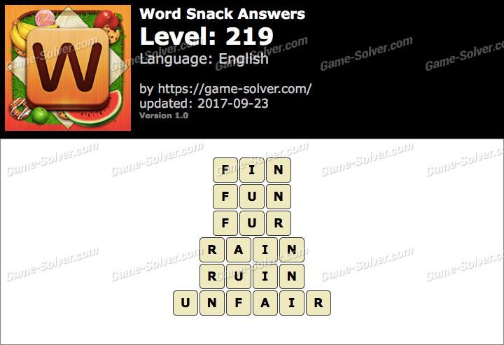 Word Snack Level 219 Answers