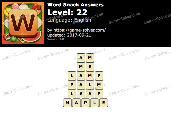 Word Snack Level 22 Answers