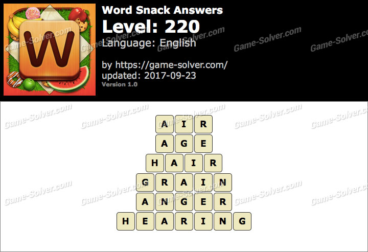 Word Snack Level 220 Answers
