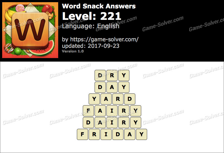 Word Snack Level 221 Answers