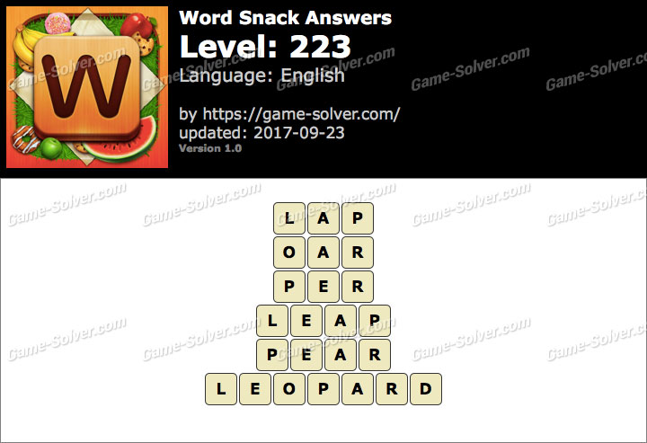 Word Snack Level 223 Answers