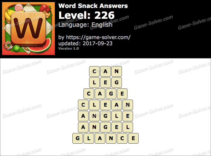 Word Snack Level 226 Answers